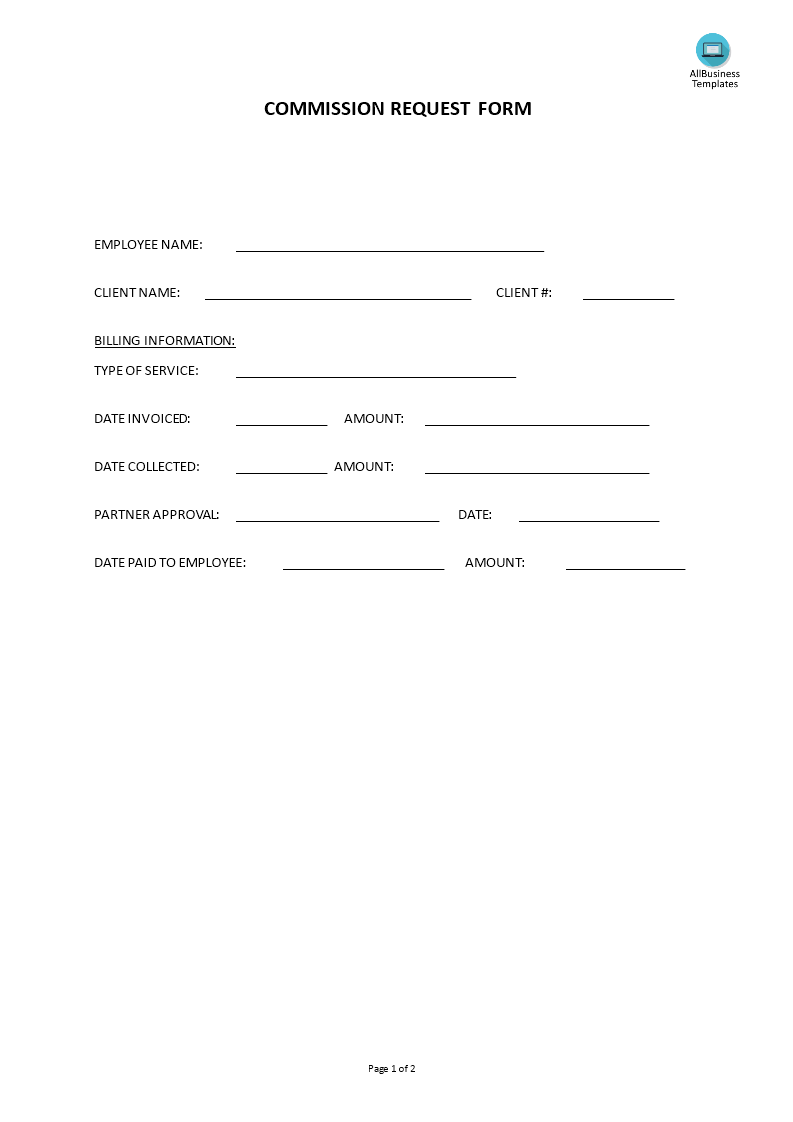 Hr Commission Request Form Templates At Allbusinesstemplates