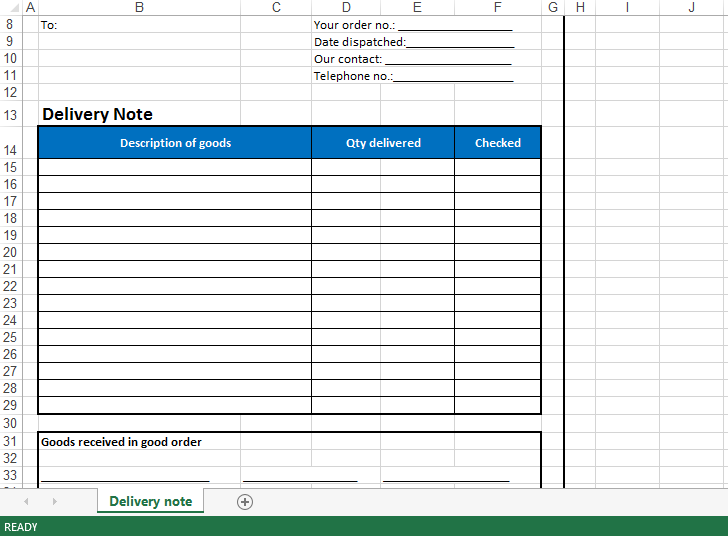 Delivery Note Excel Template Main Image  Dispatch Note Template