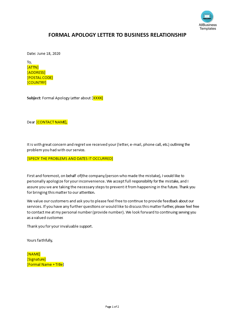 Apology Letter To Client For Mistake from www.allbusinesstemplates.com