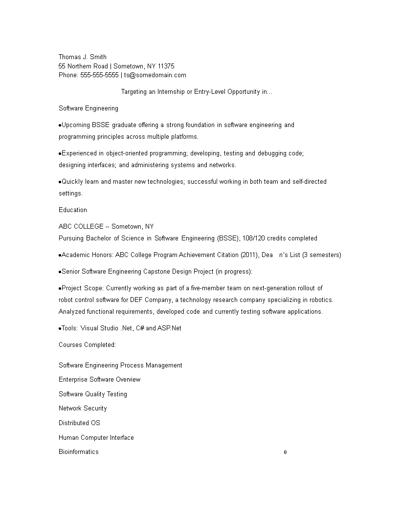 Robot Control Software Engineering Fresher Resume main image