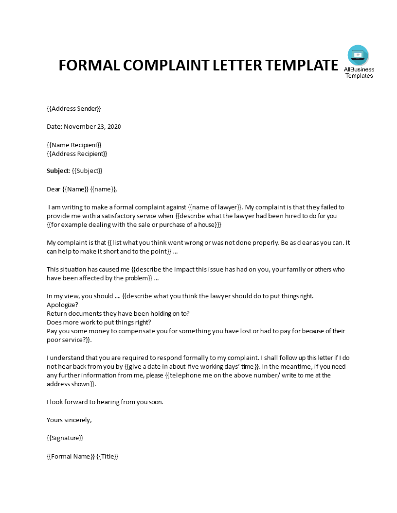 Free formal complaint letter against a lawyer or law firm formal complaint letter against a lawyer or law firm main image altavistaventures Gallery