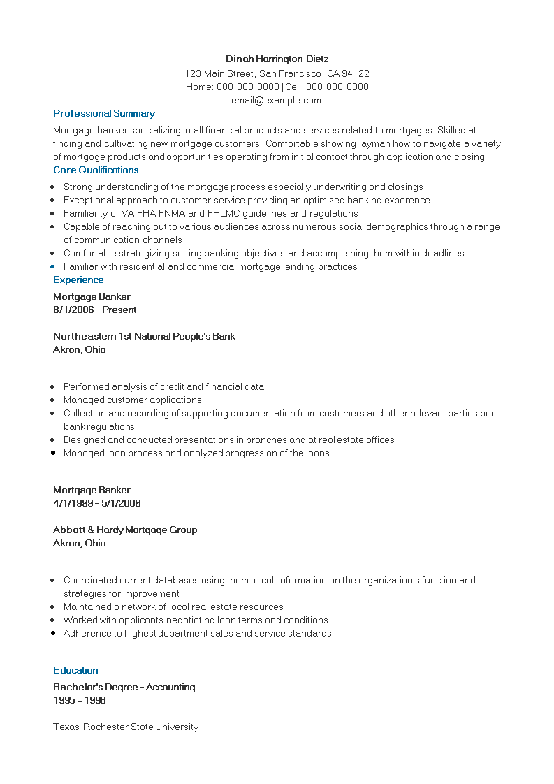 Mortgage Banking Executive Resume