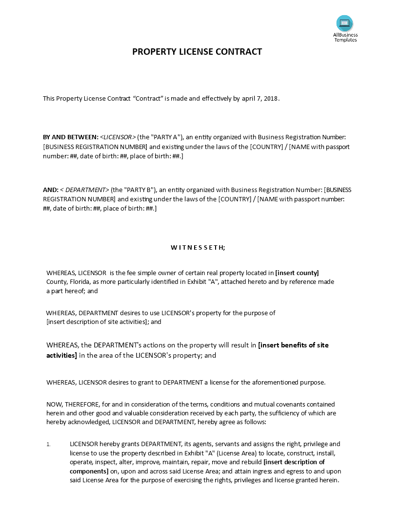 Property License Agreement Templates At