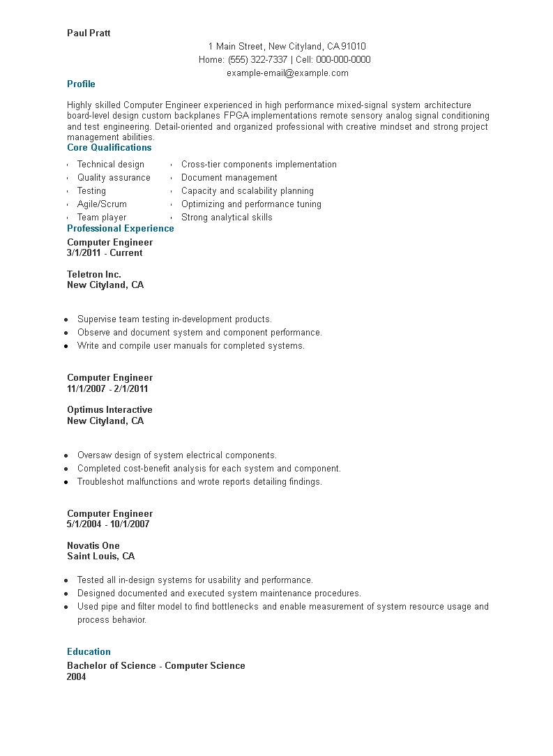 Computer Science Student Resume Template from www.allbusinesstemplates.com