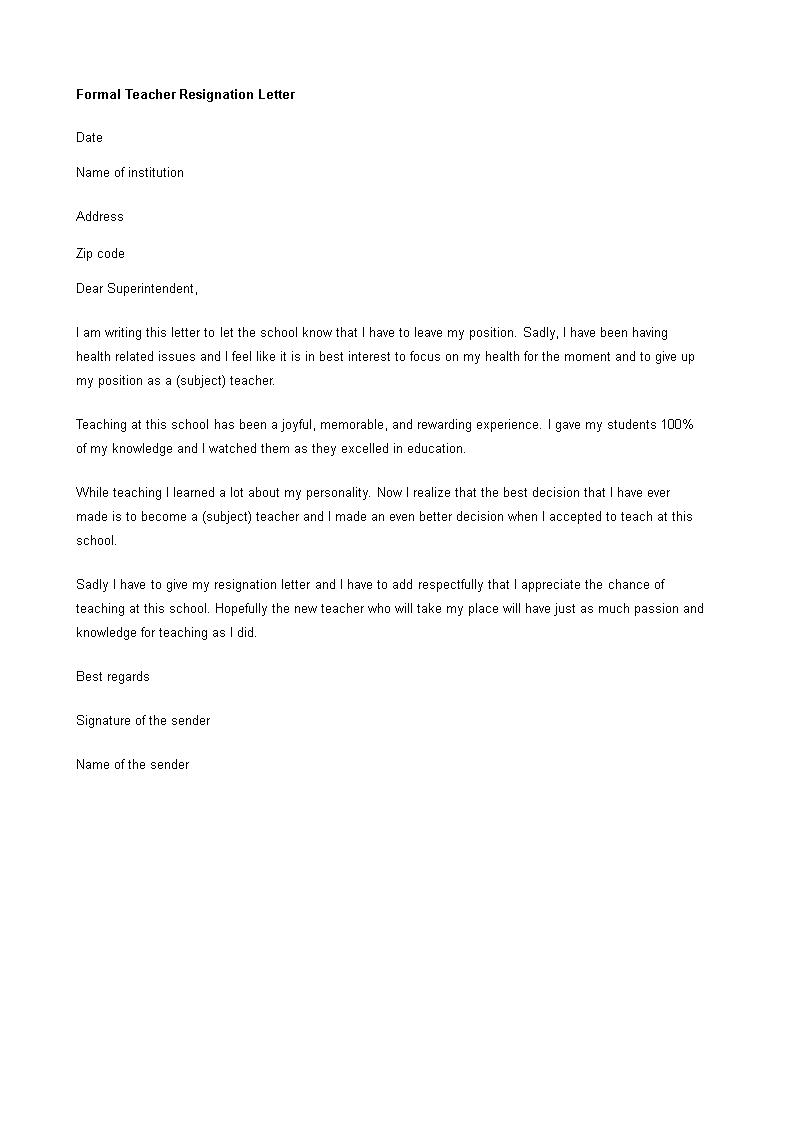 Formal Teacher Resignation Letter | Templates at ...