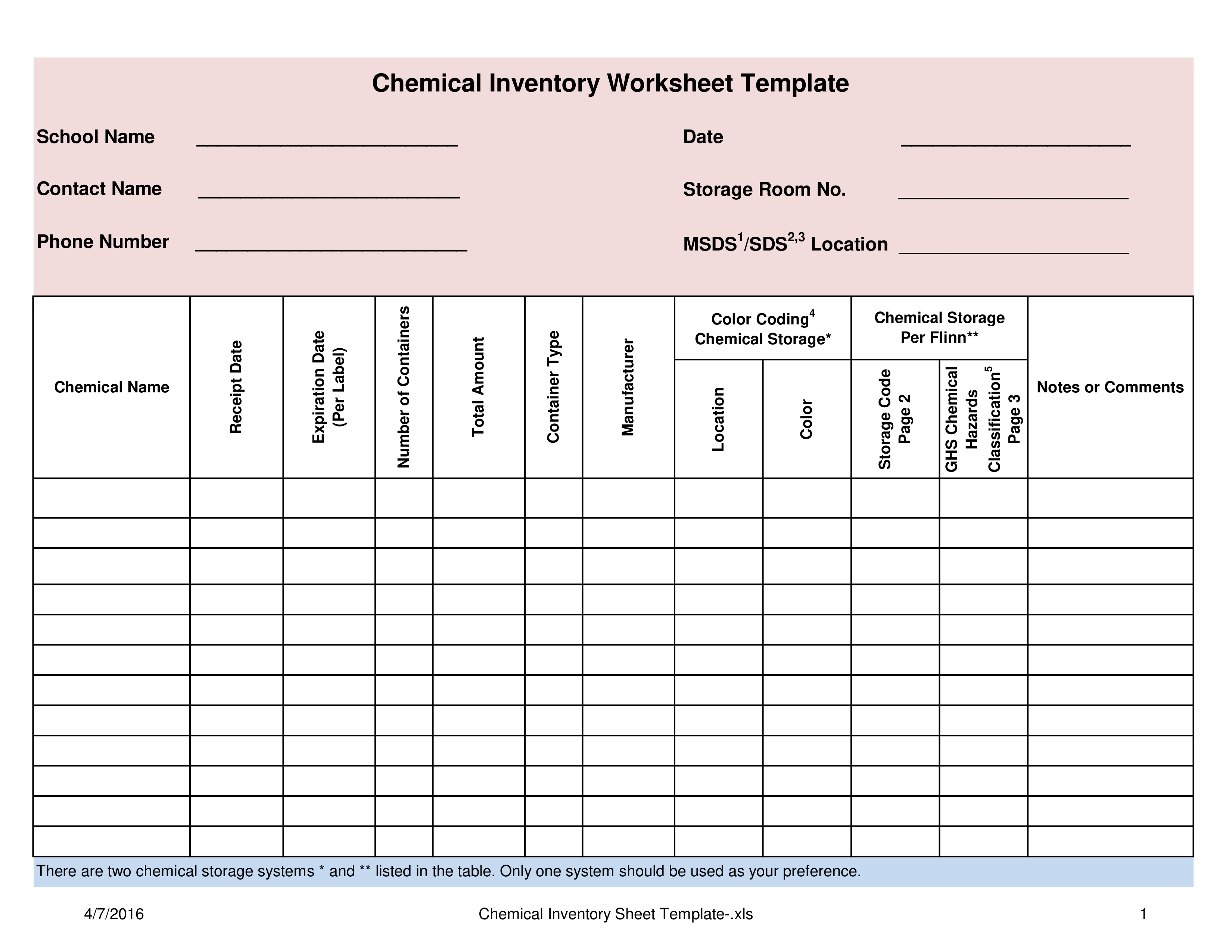 Free chemical inventory worksheet template templates at for Hazardous substance register template