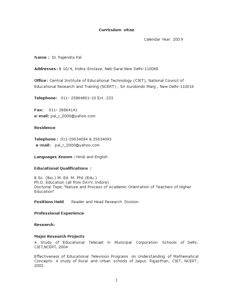 Free Resume Format For Primary Teacher Templates At