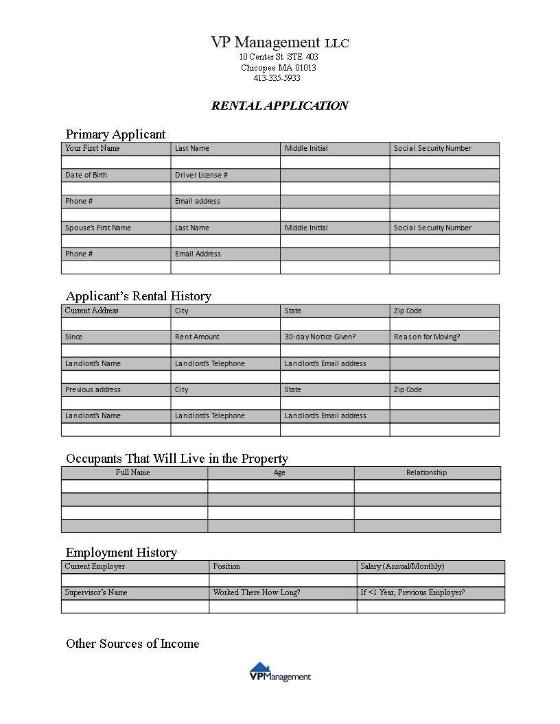 Free Landlord Rental Application Form | Templates at ...