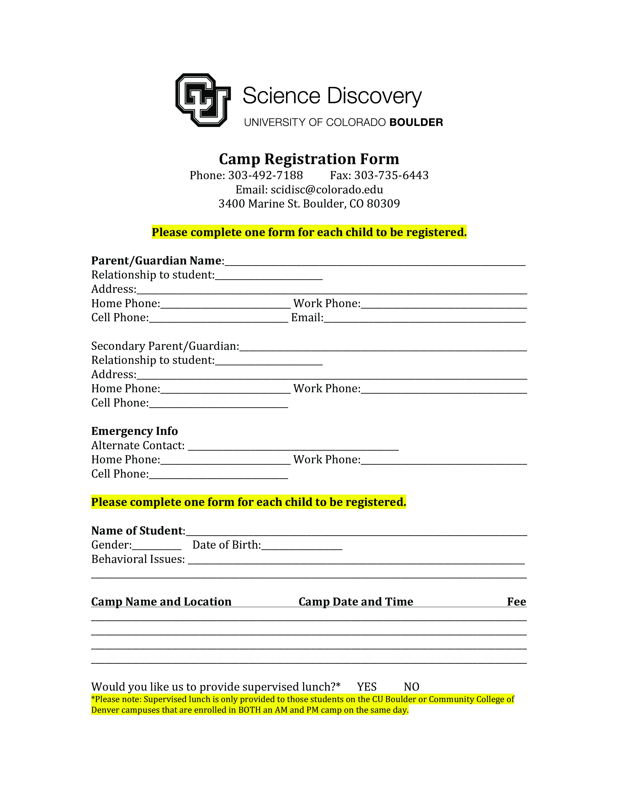 Printable Camp Registration Form Templates At