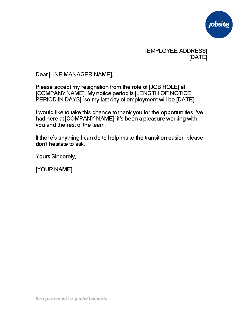 basic resignation letter with notice  templates at