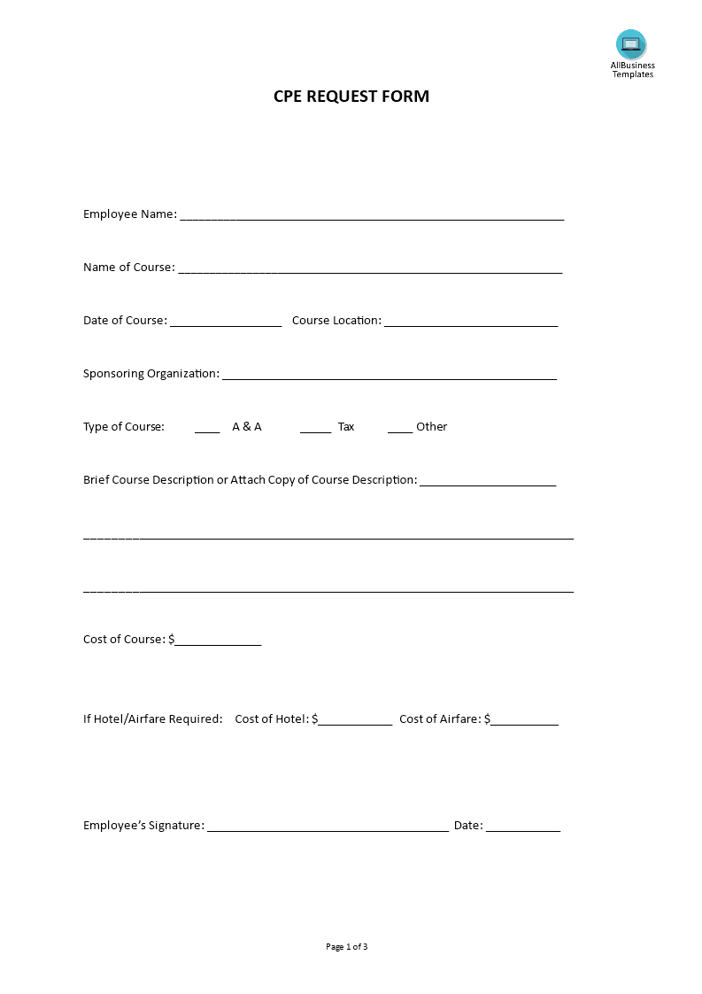 Hr Cpe Request Form Templates At Allbusinesstemplates