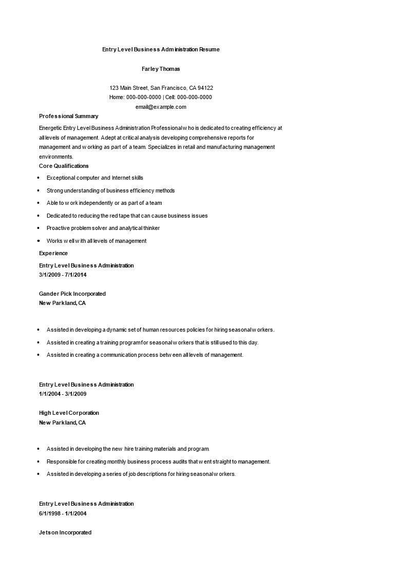 Free Entry Level Business Administration Resume | Templates at ...
