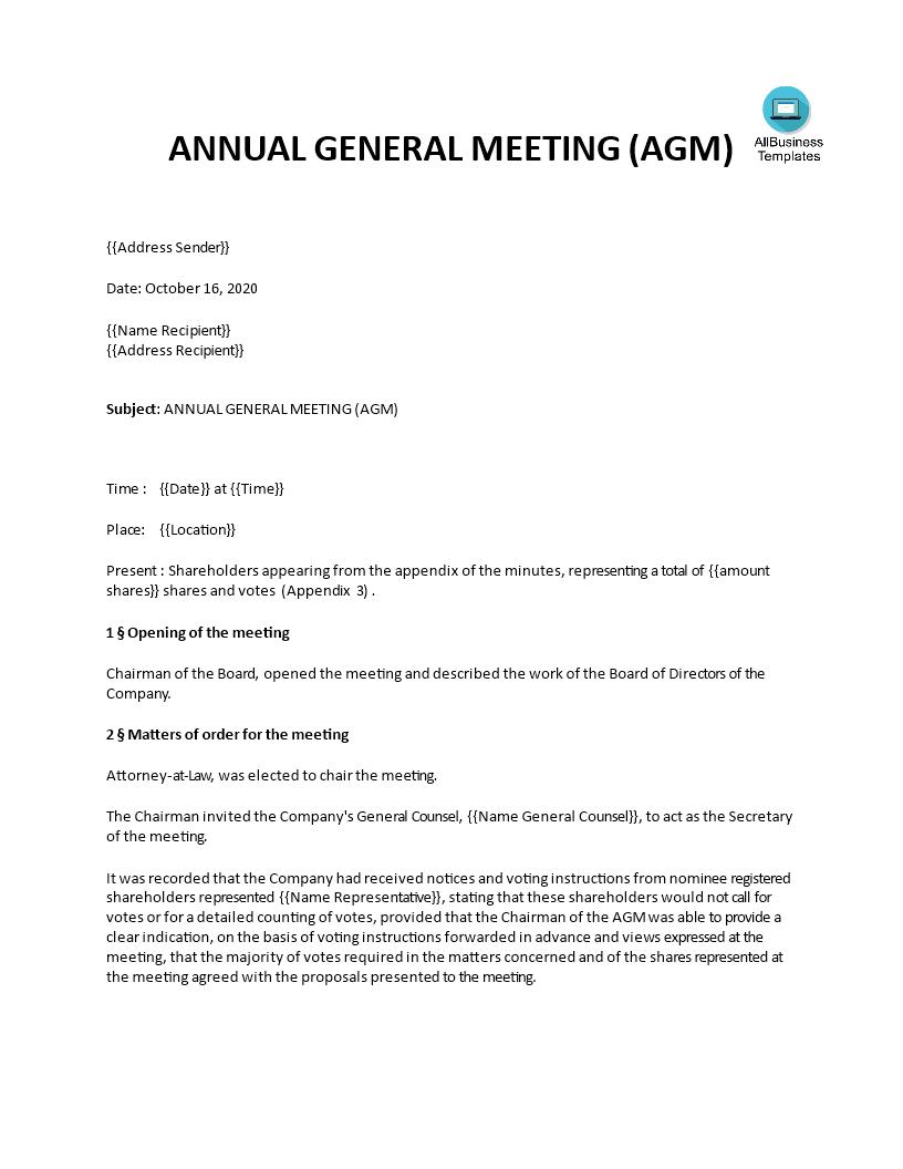 Annual General Meeting Minutes Templates At Allbusinesstemplates Com