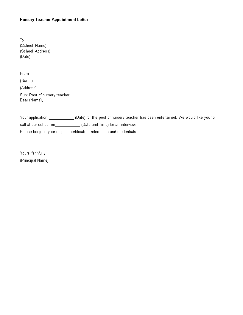 Nursery Teacher Appointment Letter main image