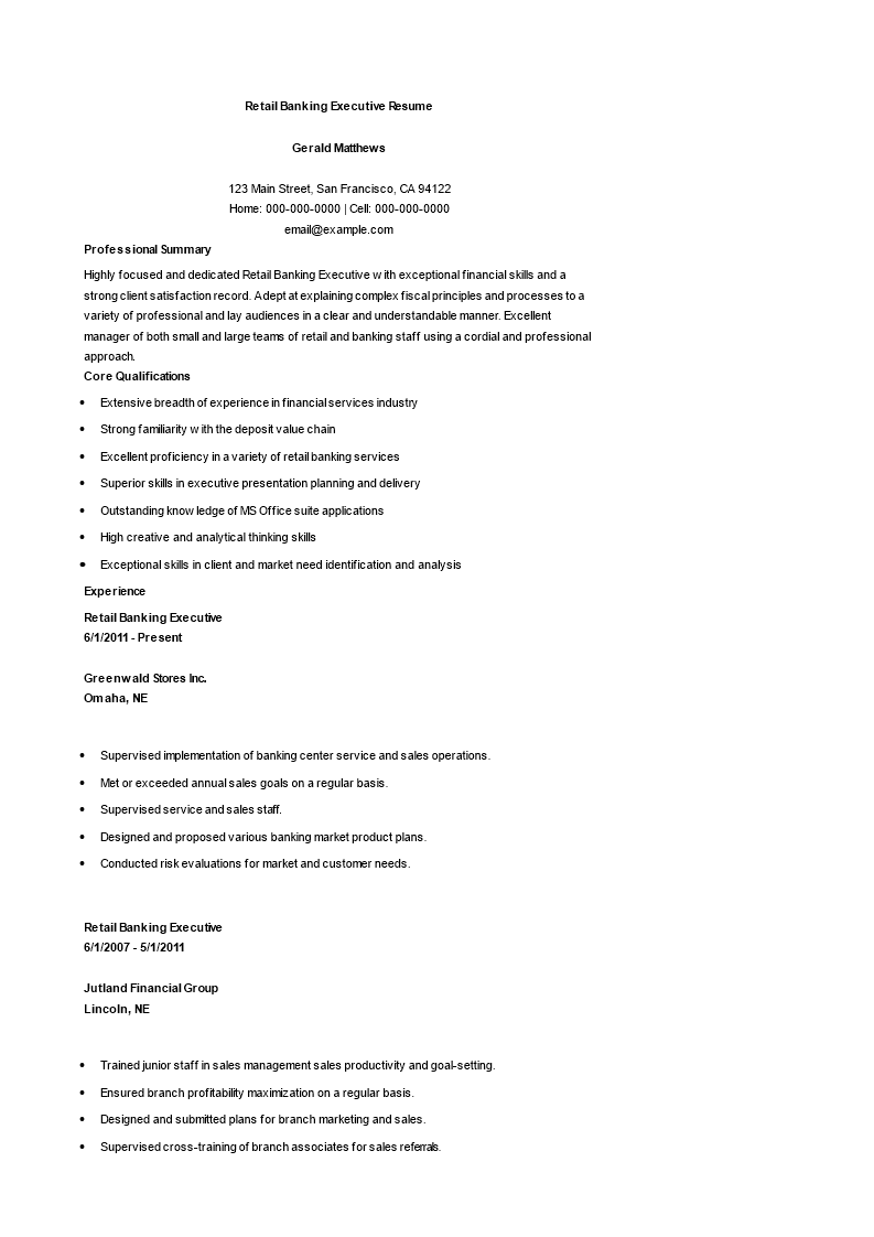 Retail bank executive resume sample retail bank executive resume sample main image altavistaventures Image collections