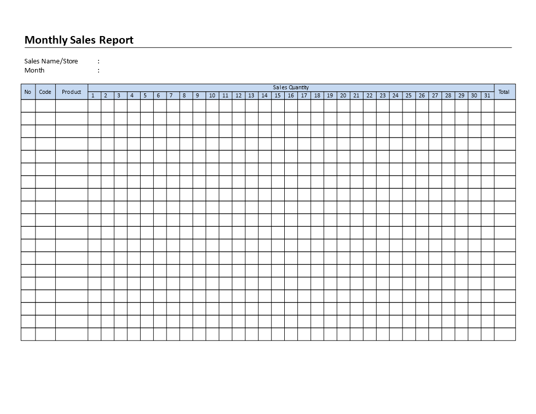 Monthly Sales Report template main image