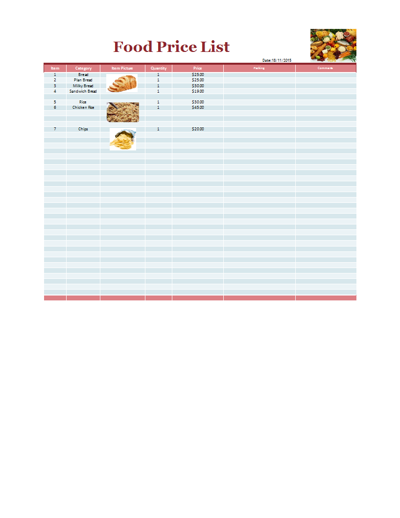 Price List Template Sample Templates At Allbusinesstemplates Com