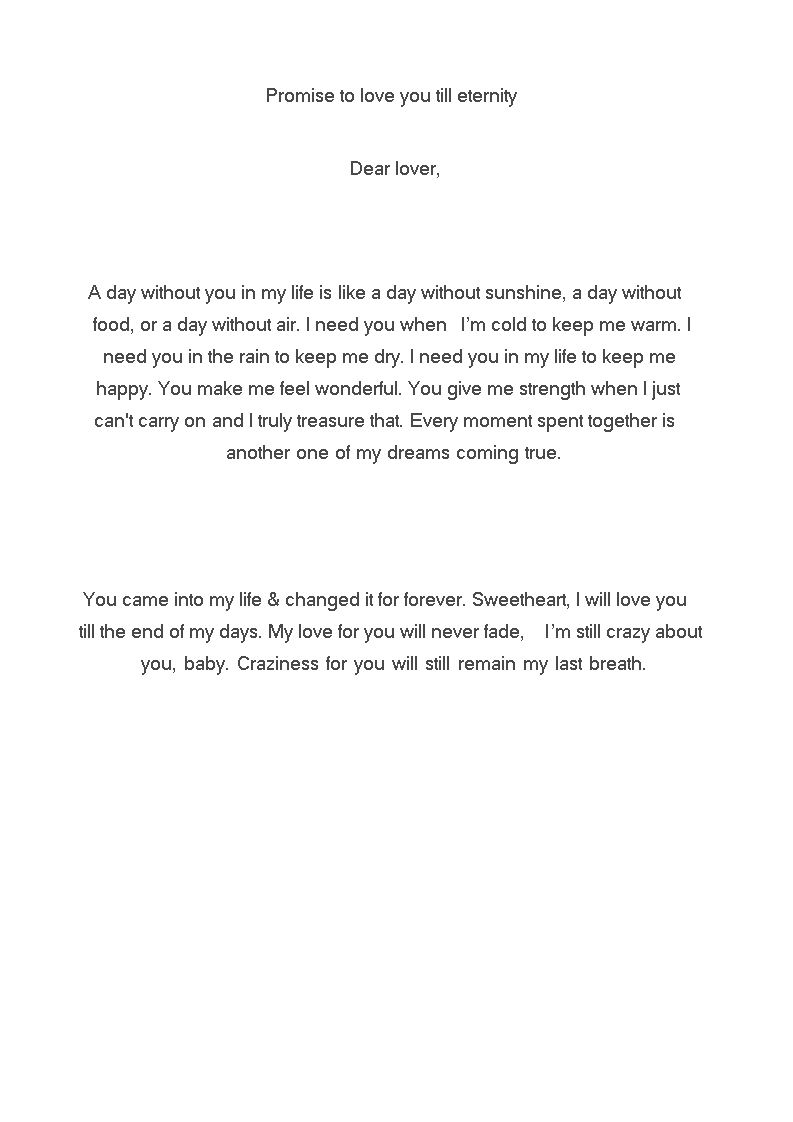 Promise Letter To Boyfriend | Templates at