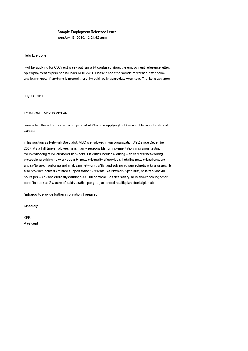 Employee Reference Letter Example from www.allbusinesstemplates.com