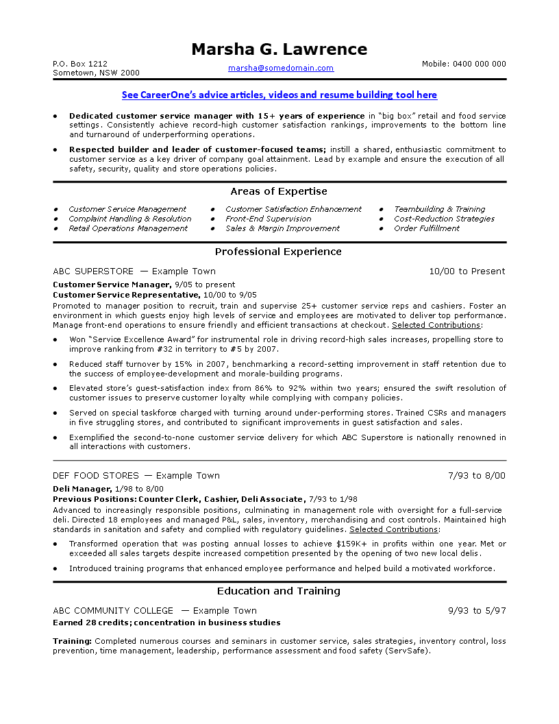 Sales Service Manager Resume Templates At