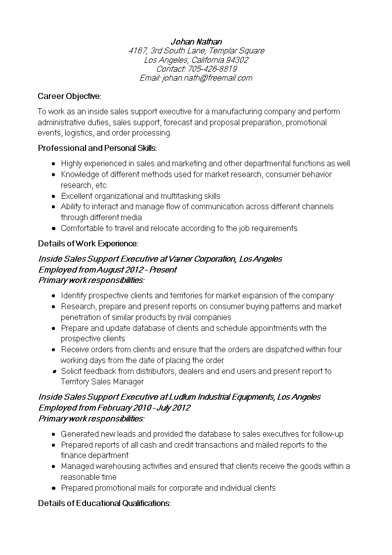 Inside Sales Support Resume main image