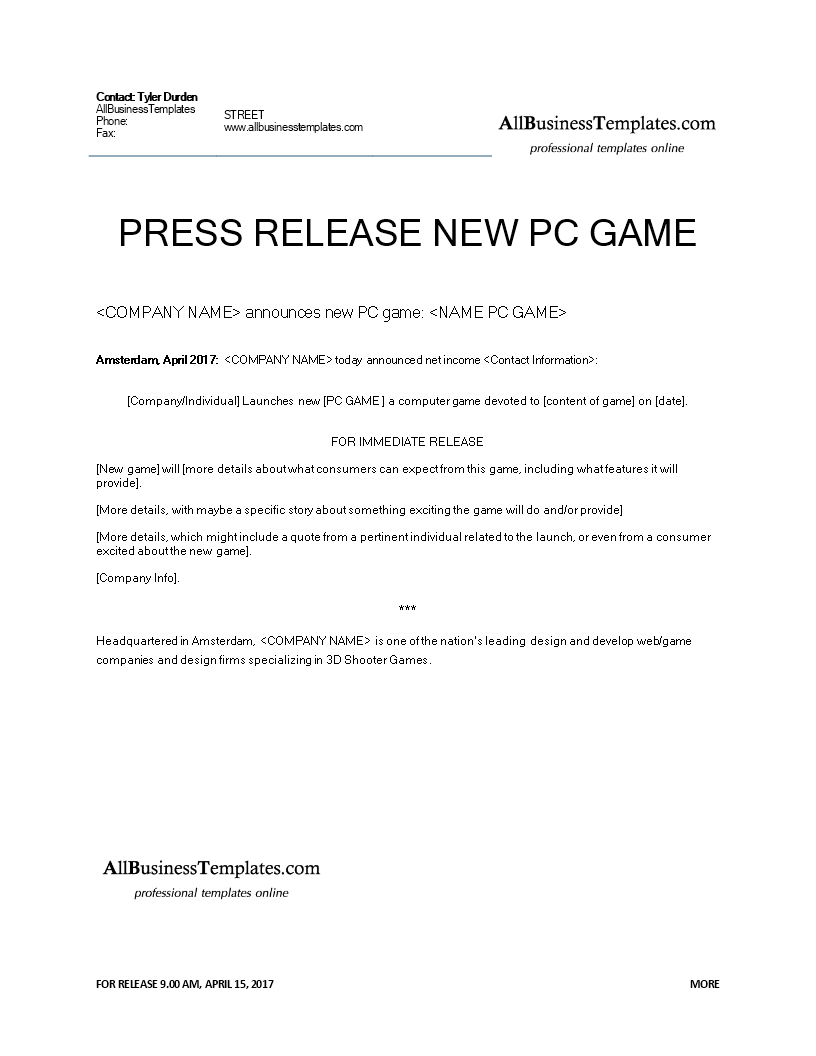 free press release example new computer game templates at