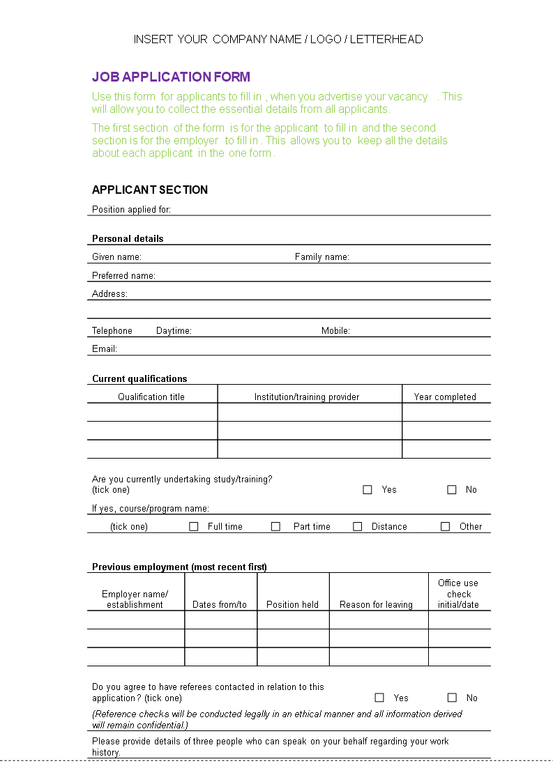 Free Hr Job Application Form Template Templates At