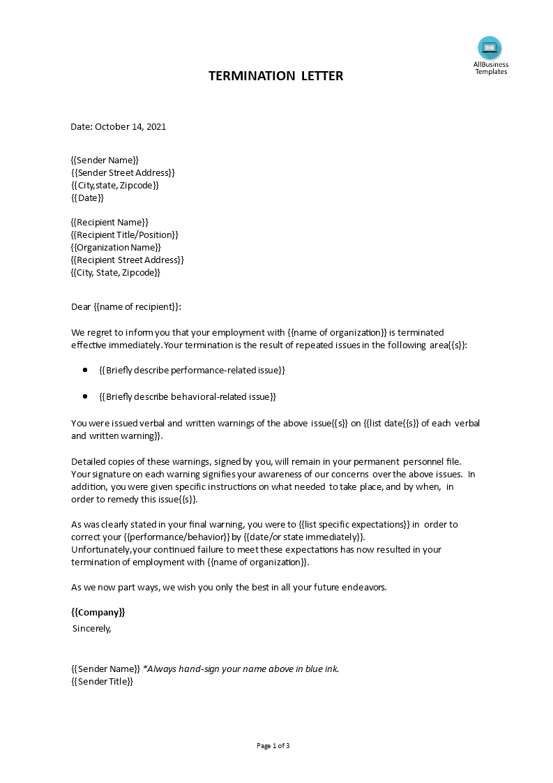 Employment Termination Letter template main image
