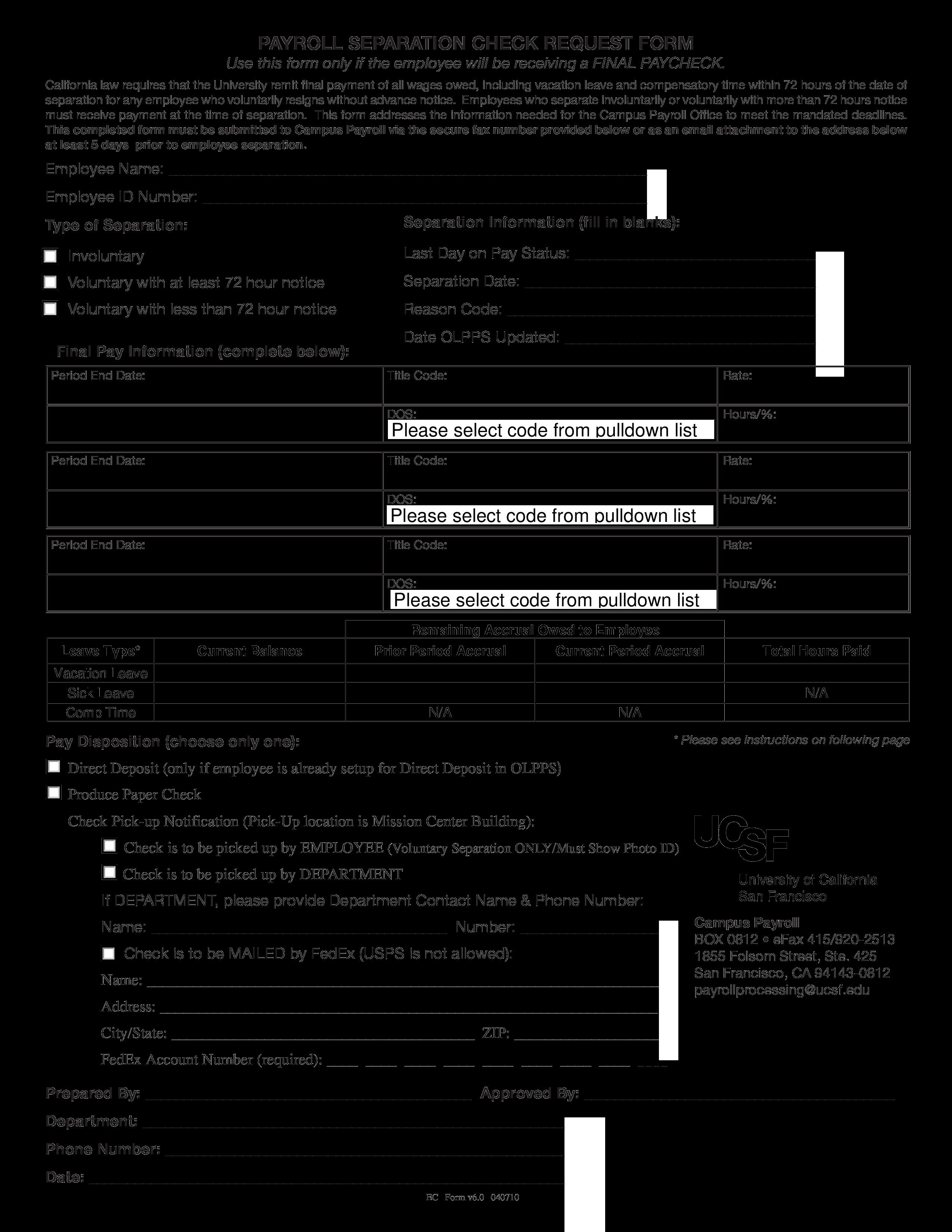 Free Payroll Separation Notice | Templates at allbusinesstemplates.com