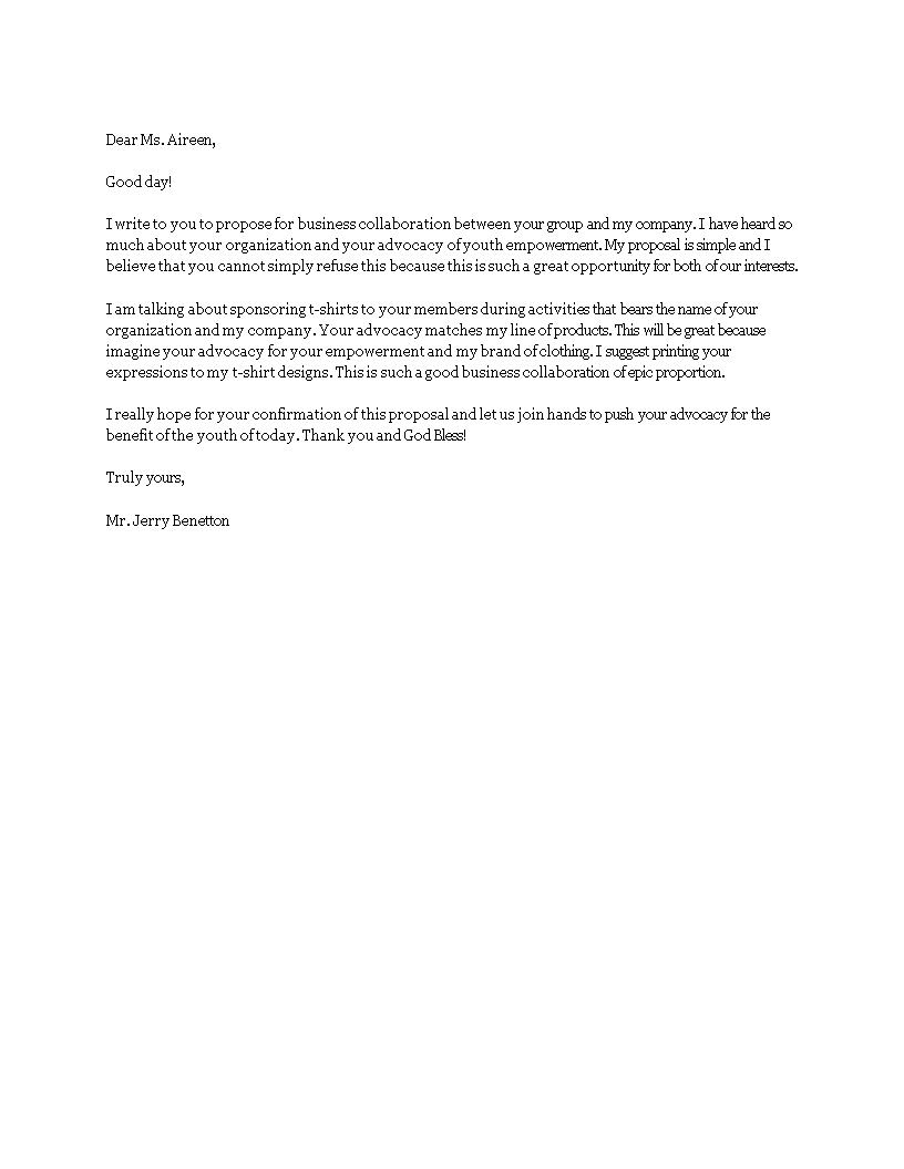 Free proposal letter for business templates at proposal letter for business main image altavistaventures Choice Image
