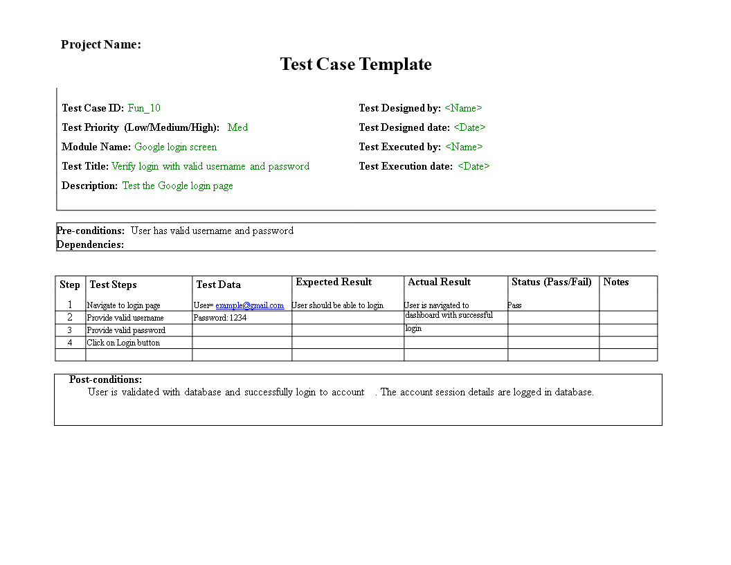 Test Case Template main image