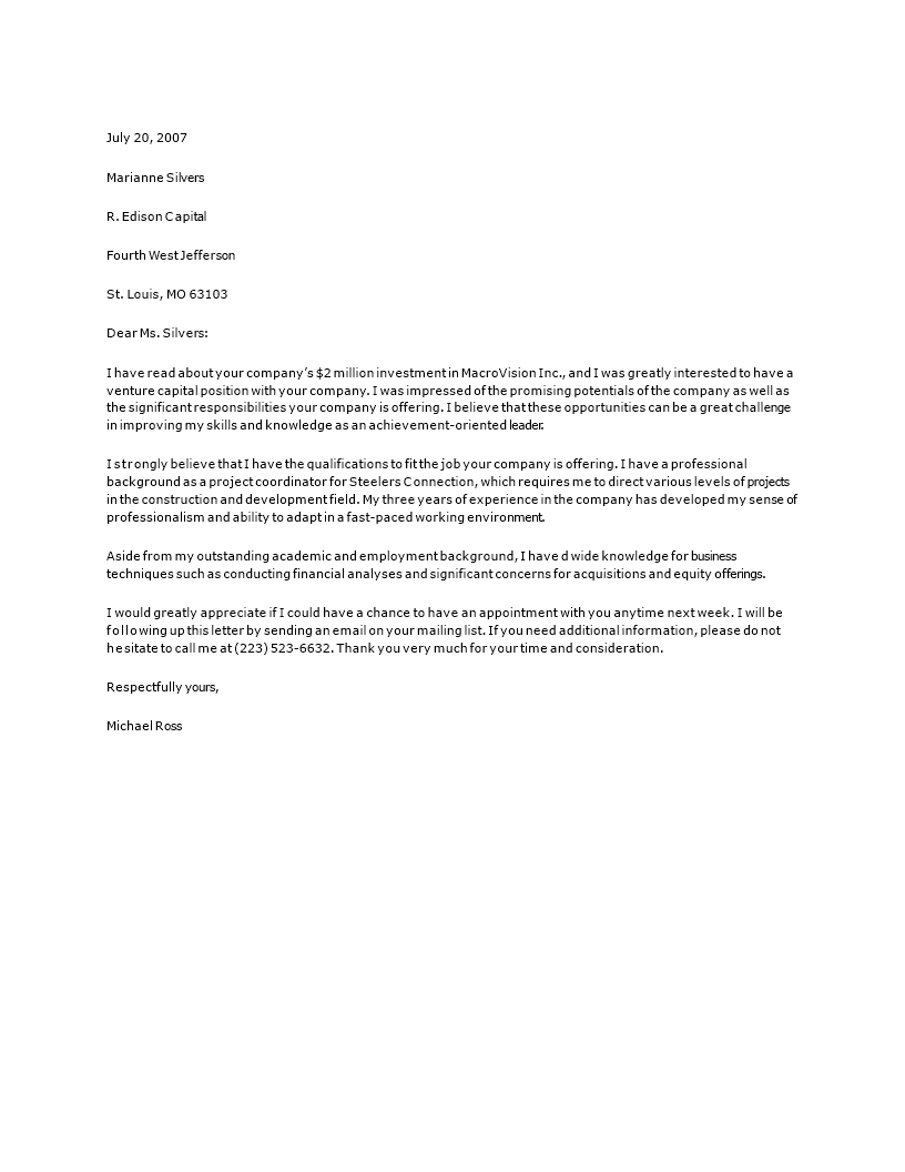 Private Equity Cover Letter | Templates at ...