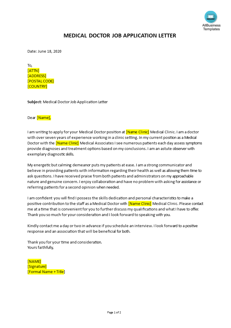 Job Application Letter For Medical Doctor Templates At Allbusinesstemplates Com