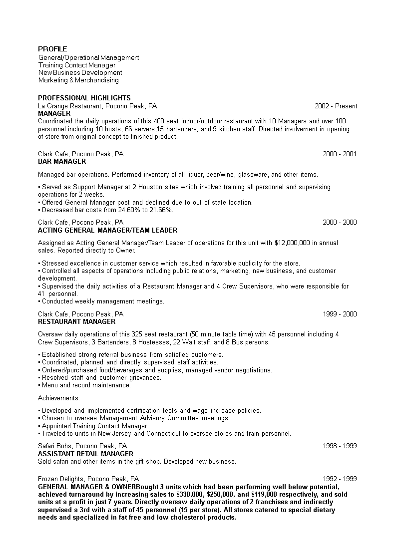 Marketing Manager For Restaurant Resume Templates At