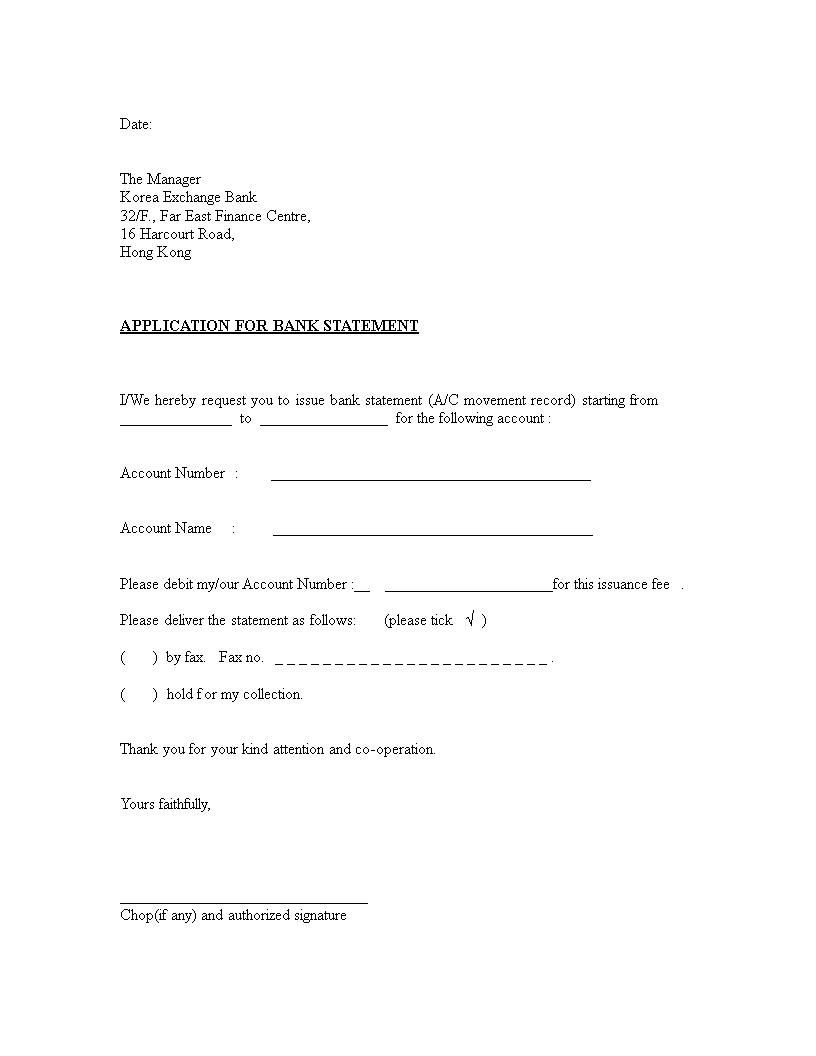 Free Bank Statement Application Letter Format Templates At