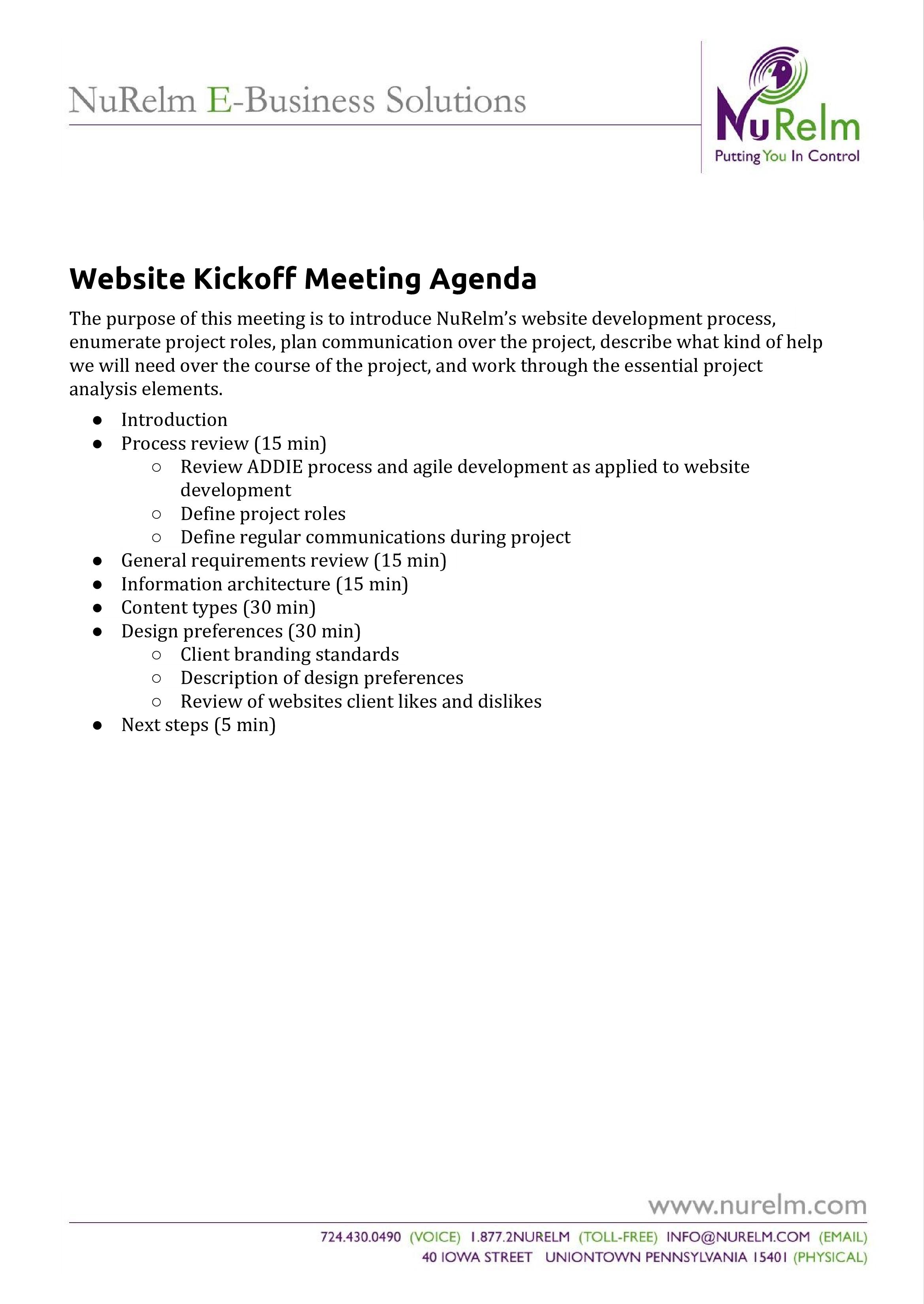 Website Kickoff Meeting Agenda Templates At