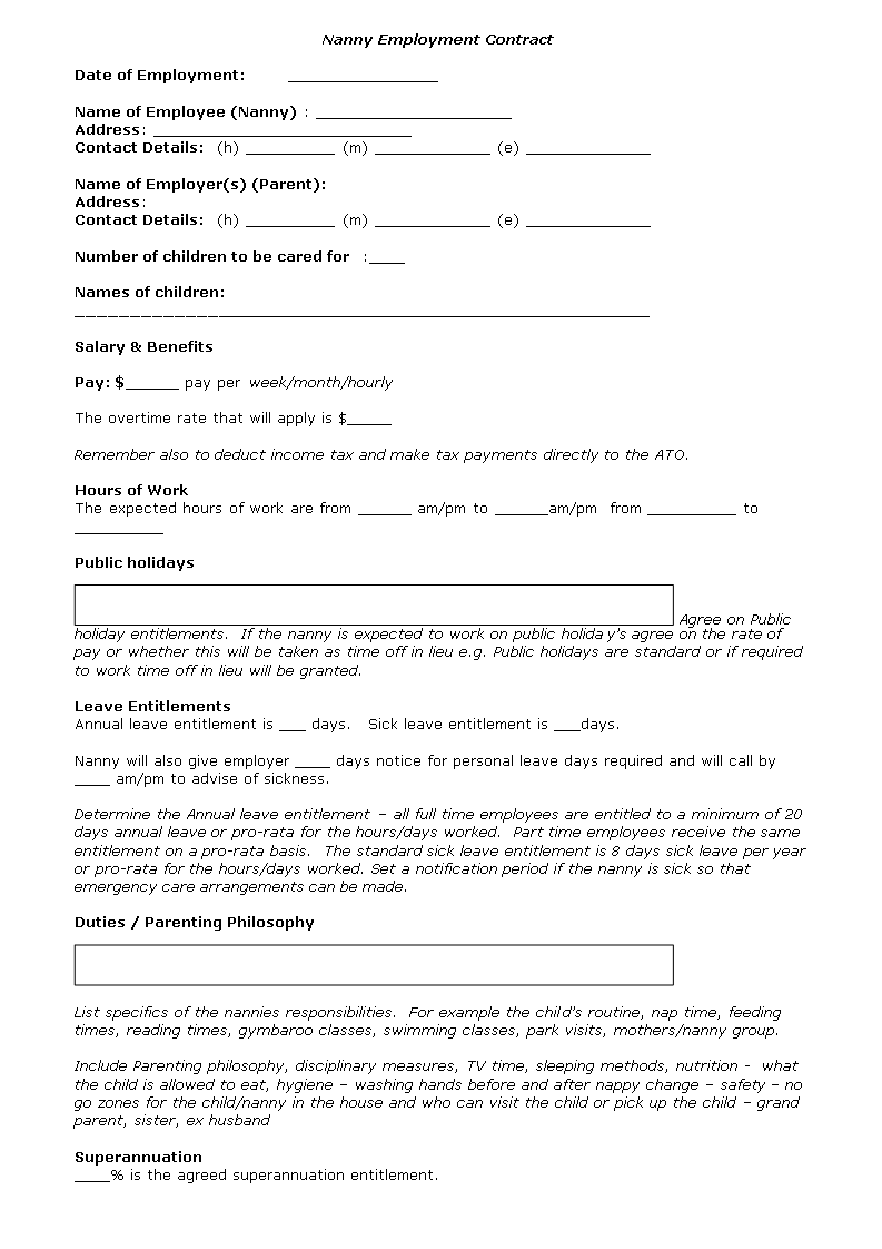 Free Nanny Contract Template Templates At