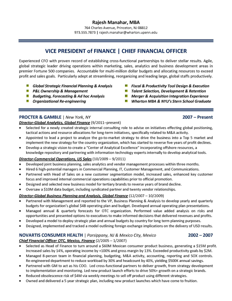 Chief Finance Officer Resume | Templates at ...