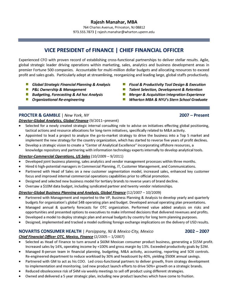 Chief Finance Officer Resume Allbusinesstemplates