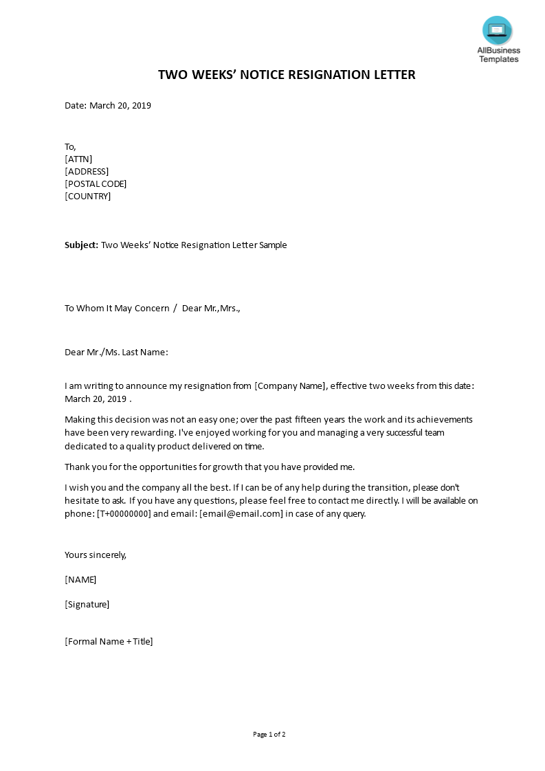 Letter Of Resignation Sample 2 Weeks Notice from www.allbusinesstemplates.com