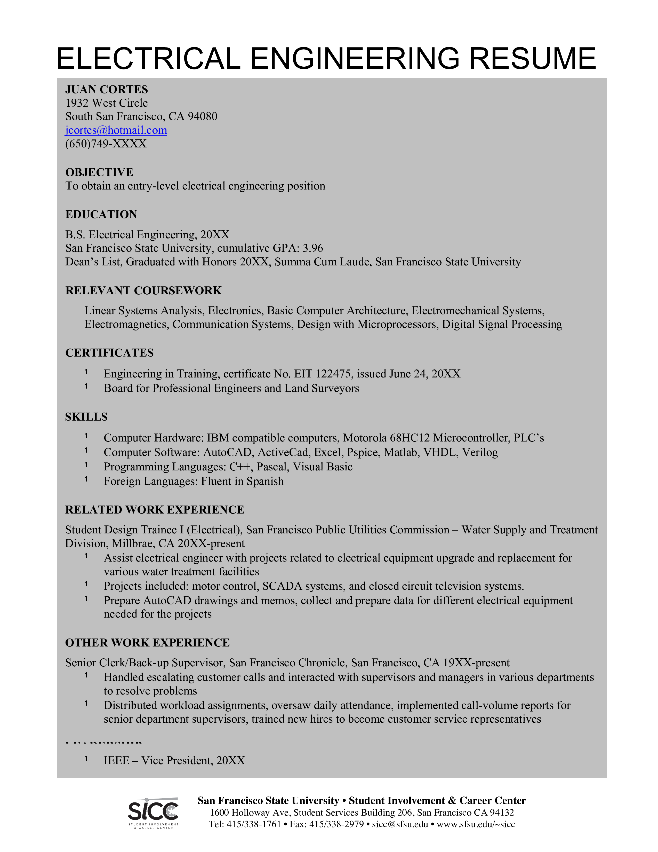 Free Electrical Curriculum Vitae Templates At Allbusinesstemplates Com