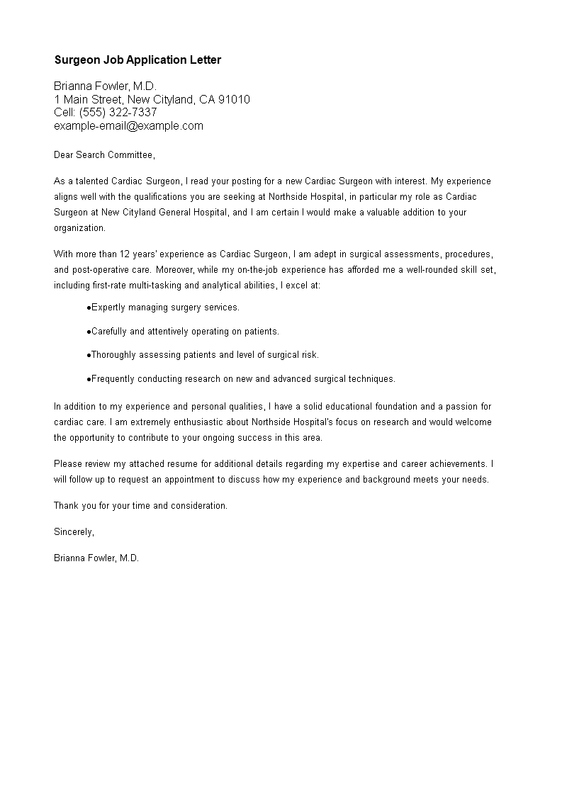 Surgeon Job Application Letter Templates At Allbusinesstemplates Com