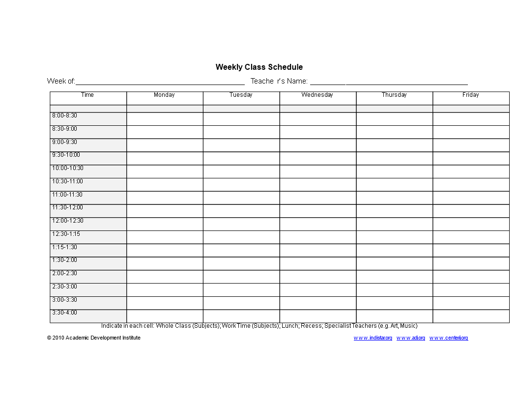 Weekly Class Schedule template main image