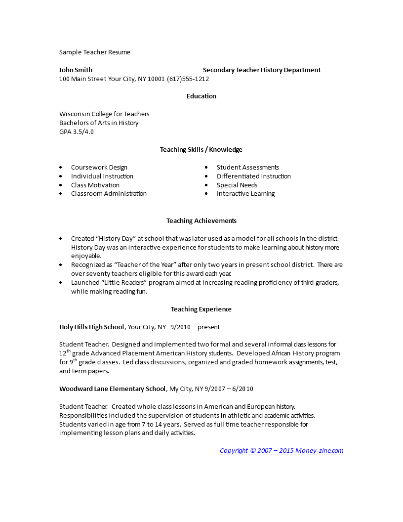 Elementary School Teacher Resume Template Main Image