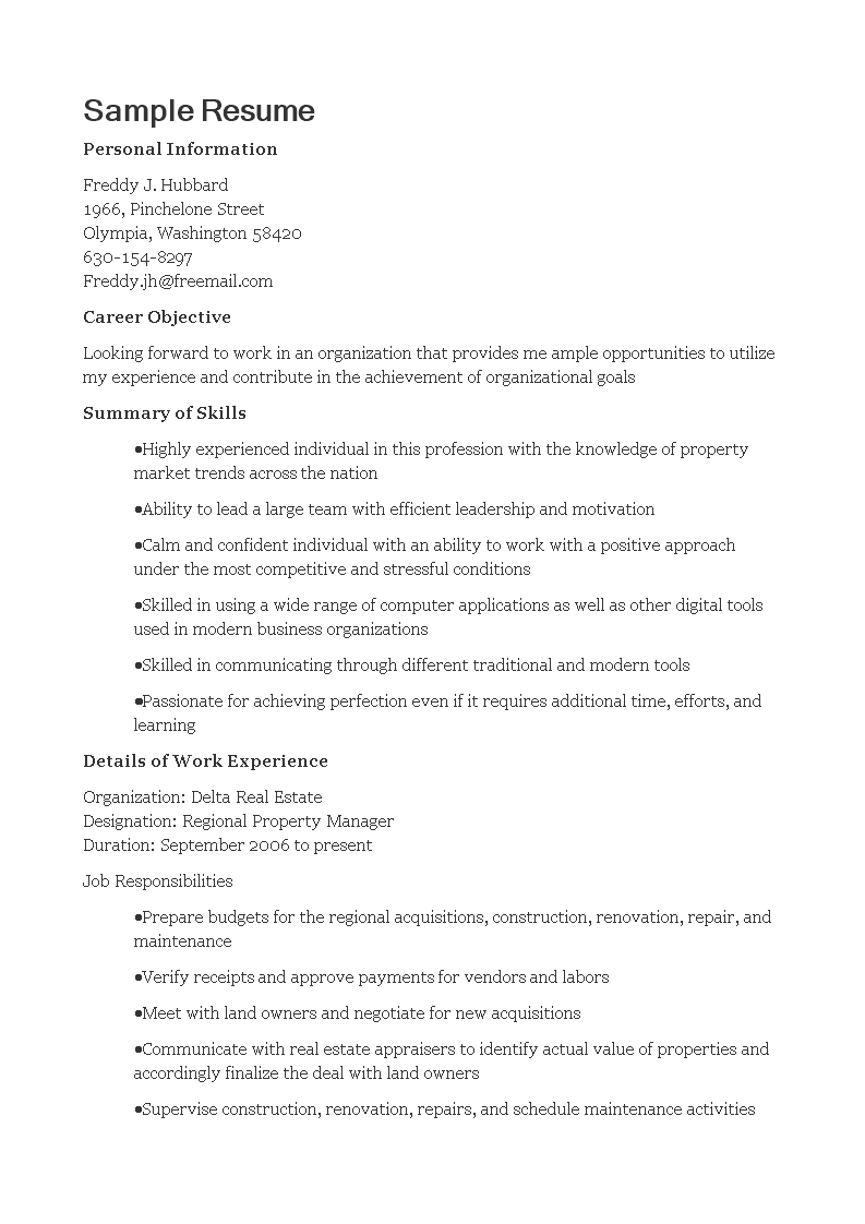 Free Regional Property Manager Resume Templates At
