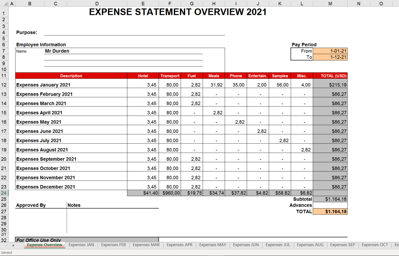 Business Expense Statement 2021 main image
