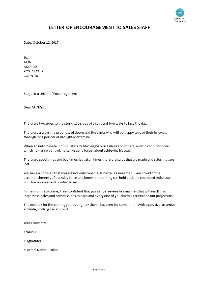 Encouragement Letter Template | Letter Of Encouragement To Sales Staff Templates At