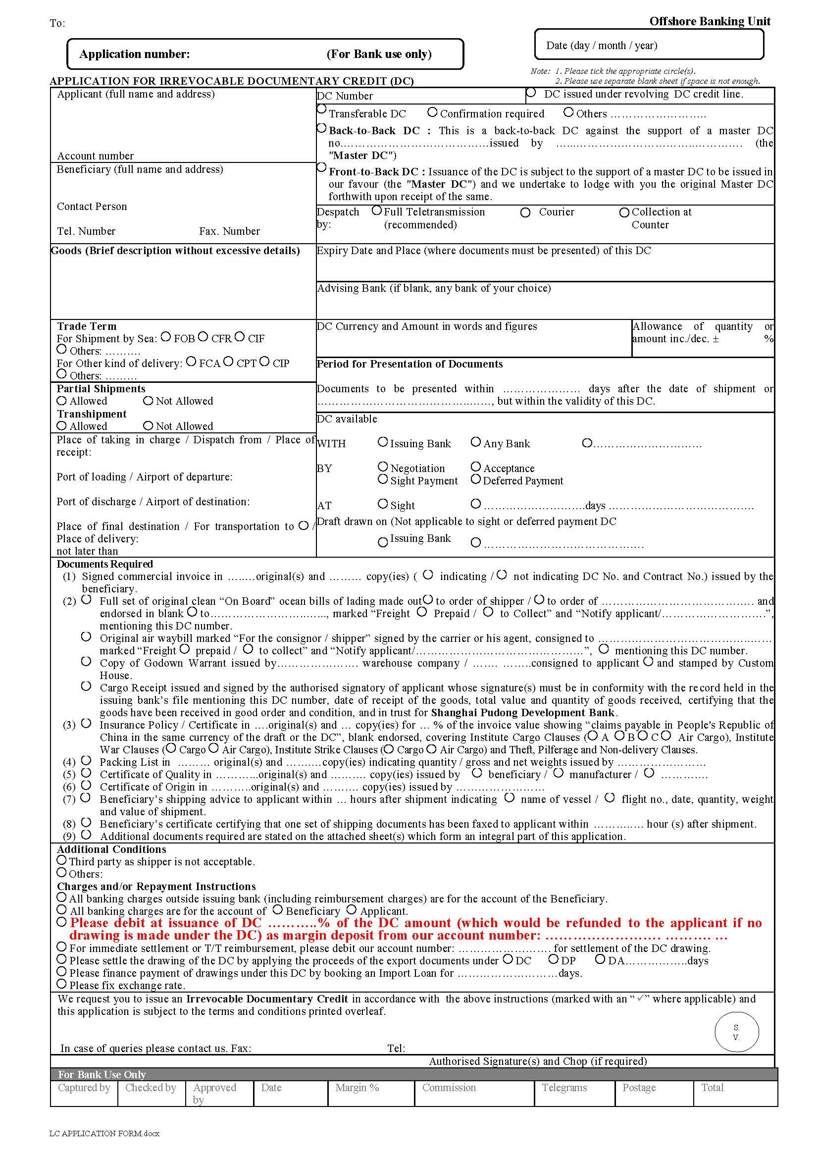 letter of credit application form main image
