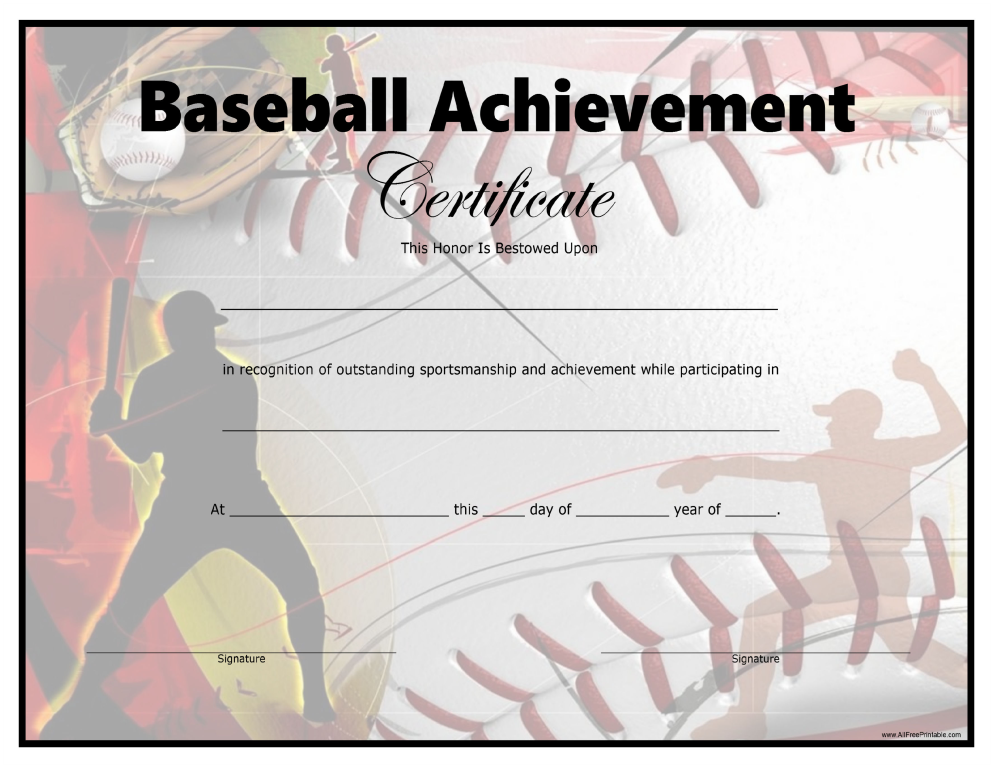 Free Baseball Achievement Certificate Templates At
