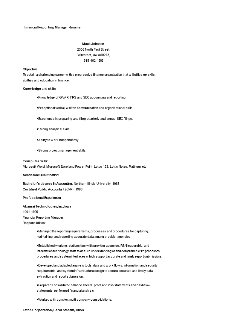 Financial Reporting Manager Resume main image